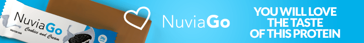 NuviaGo is a delicious protein bar with a cookie and cream flavor.